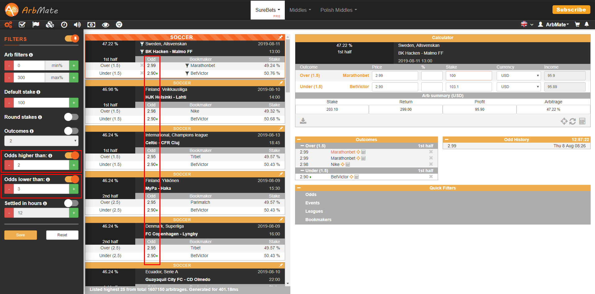 Filter odds by value